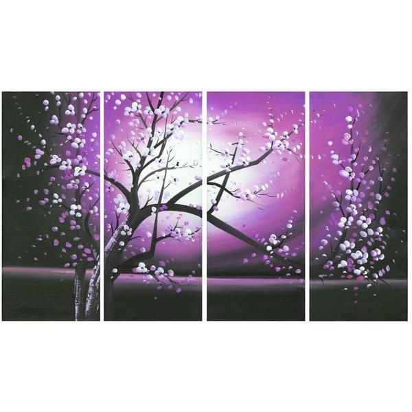 Blossoming In The Moonlight' 4 Piece Wall Art Canvas – Free For Purple Canvas Wall Art (Image 7 of 20)