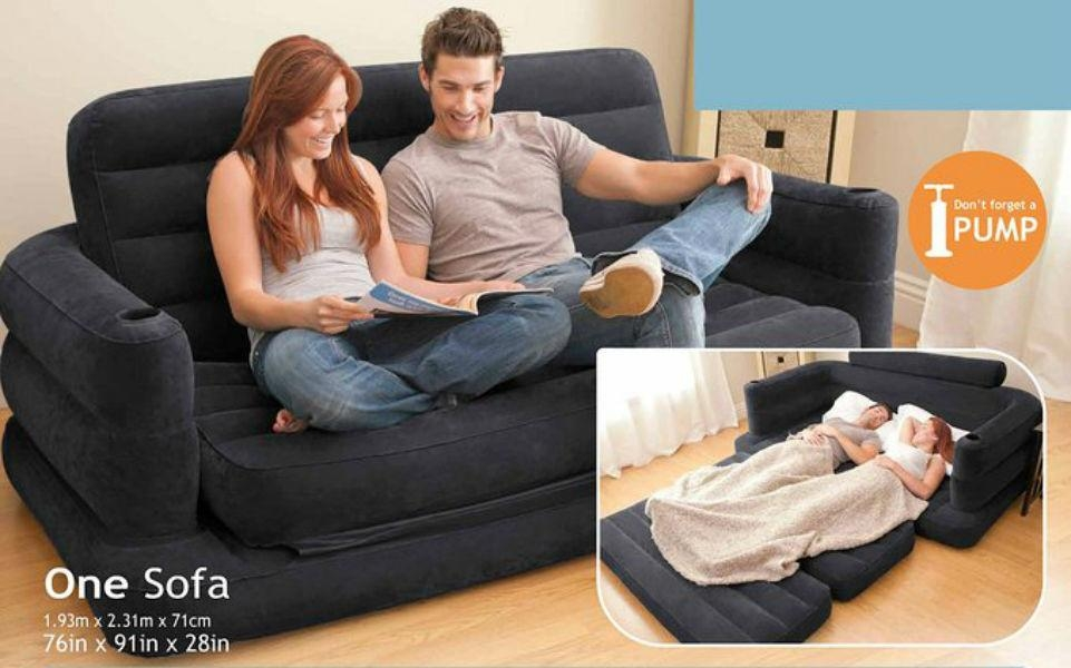 Blow Up Mattress Intex Pull Out Sofa Queen Couch Futon Inflatable Throughout Inflatable Pull Out Sofas (Image 3 of 20)