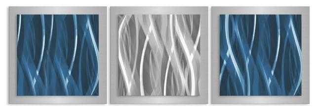 Blue And Silver Essence, Contemporary Artwork, Metal Wall Decor With Blue And Silver Wall Art (Image 8 of 20)