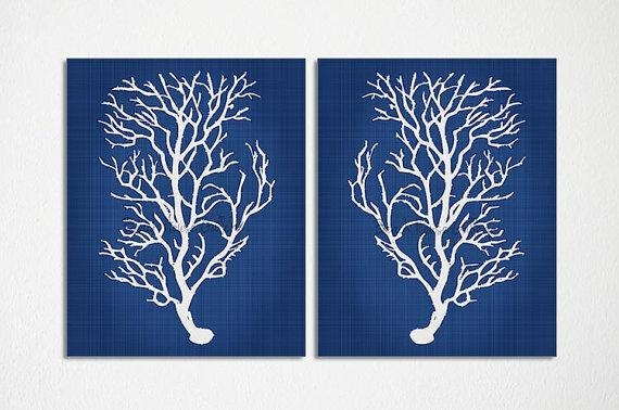 Blue Coral Wall Art Navy Blue Coral Print Navy White Wall In Blue And White Wall Art (Image 9 of 20)