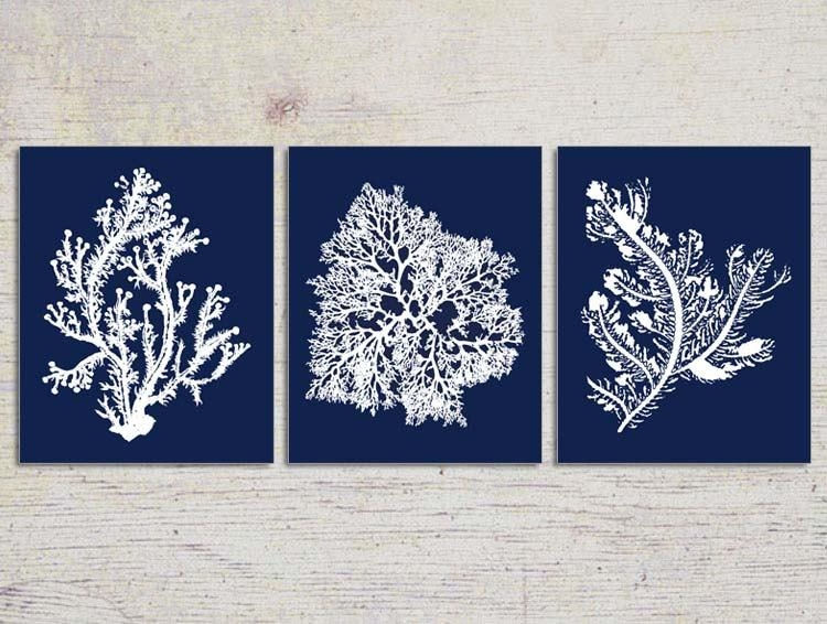 Blue Coral Wall Art Navy Blue Coral Print Navy White Wall Within Blue And White Wall Art (View 2 of 20)
