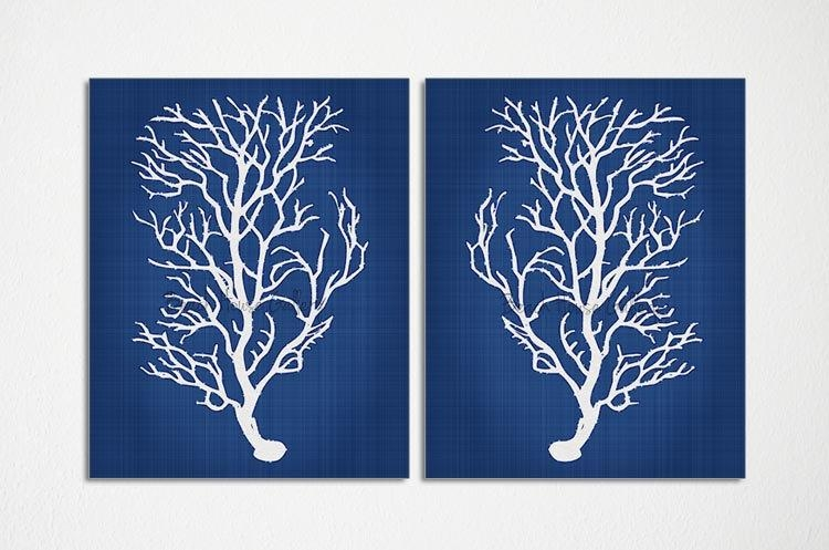 Blue Coral Wall Art Navy Blue Coral Print Navy White Wall Within Navy Blue Wall Art (Photo 11 of 20)