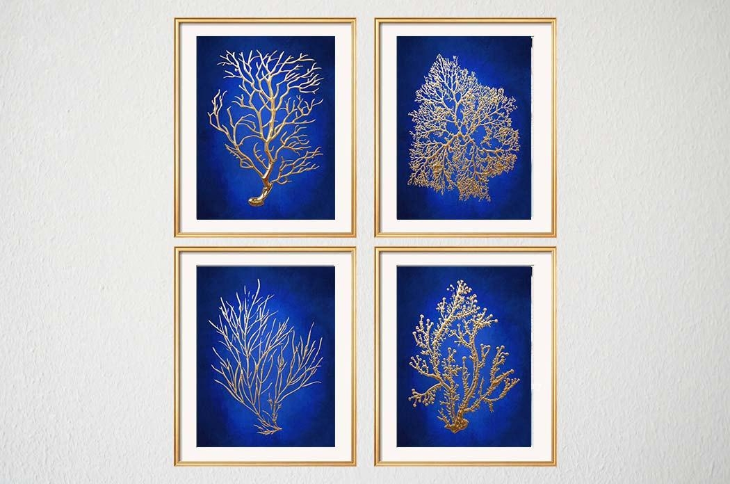 Blue Gold Wall Art Chinoiserie Wall Art Indigo Blue Blue Pertaining To Chinoiserie Wall Art (Image 8 of 20)