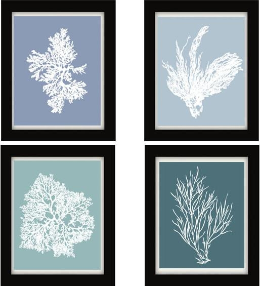 Blue Gray, Coral Art, Blue Wall Art, Blue Decor – Tropical Regarding Blue Wall Art (Image 10 of 20)