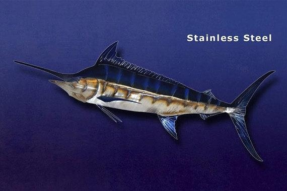 Blue Marlin Metal Art Wall Sculpture In Stainless Or Carbon Pertaining To Stainless Steel Fish Wall Art (Image 6 of 20)
