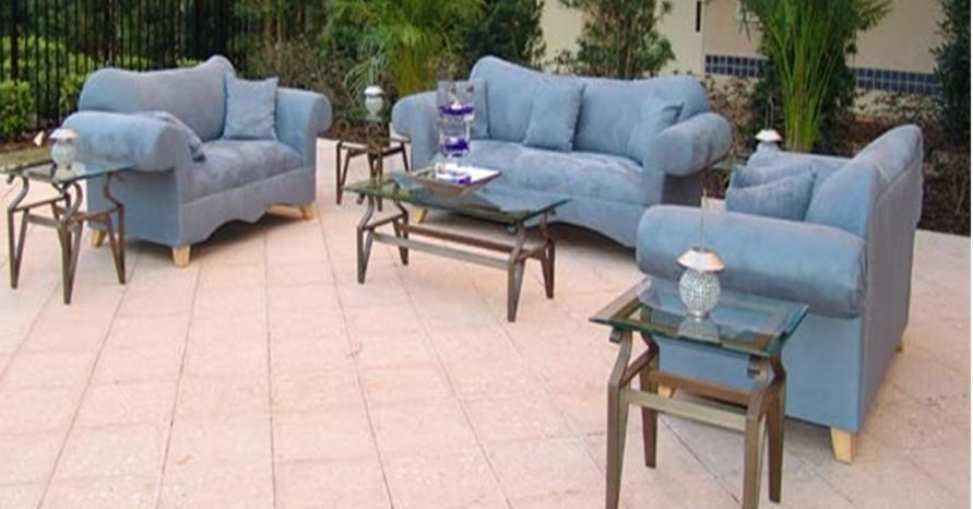 Blue Microfiber Sofa And Love Seat | Event Services Orlando For Blue Microfiber Sofas (Image 6 of 20)