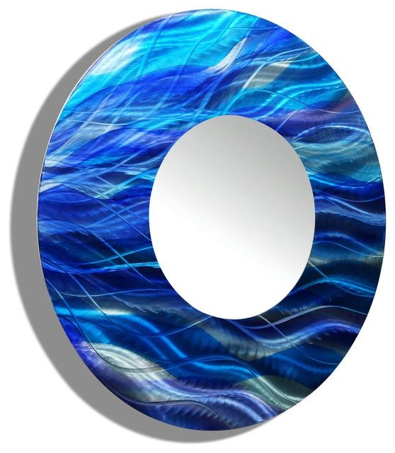 Blue Ocean Inspired Large Round Metal Mirror – Contemporary Metal Intended For Large Round Wall Art (Image 4 of 20)