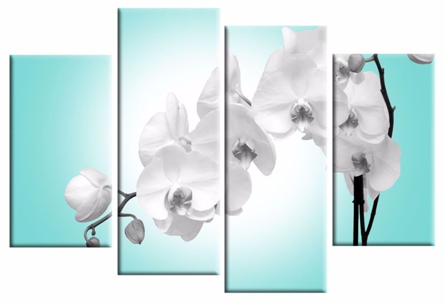 Blue Orchid 4 Panel Canvas Wall Art Print 40 Inch 101 Cm In Duck Egg Blue Wall Art (Image 4 of 20)