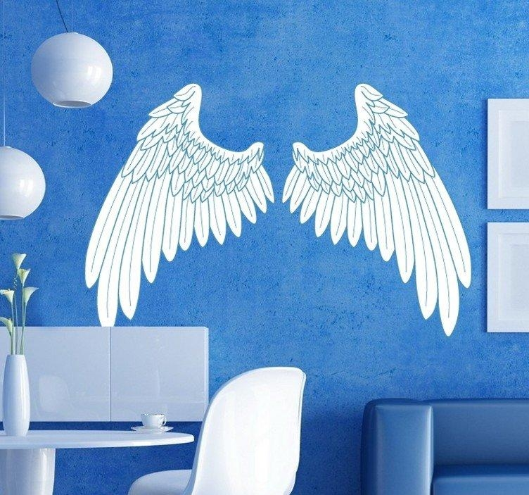 Blue Outline Angel Wings Wall Art Sticker – Tenstickers Throughout Angel Wings Wall Art (Image 14 of 20)
