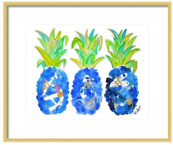 Blue Pineapple Watercolor Art Tropical Wall Art Wall Decor Intended For Chinoiserie Wall Art (Image 9 of 20)