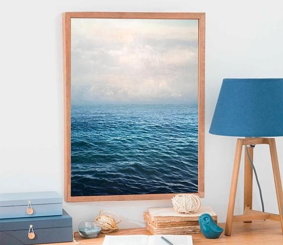 Blue Sea Print Extra Large Wall Art Blue Ocean Photography Throughout Extra Large Wall Art Prints (View 19 of 20)