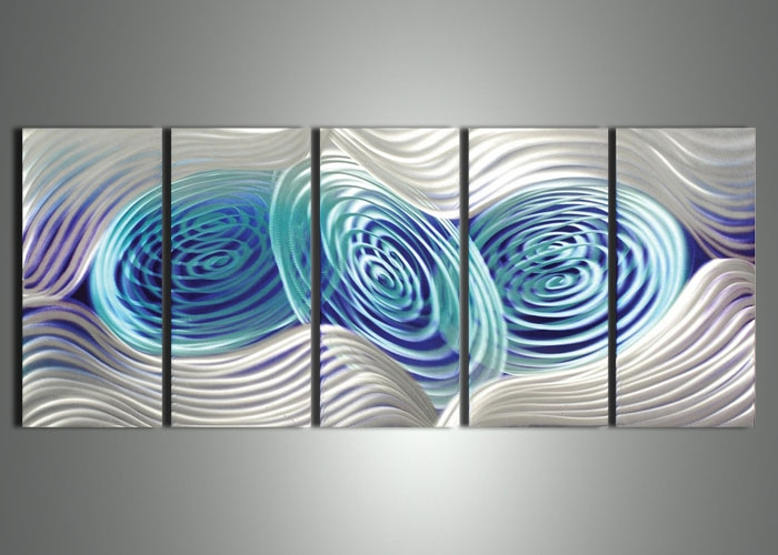 Blue & Silver Metal Art Painting 60X 24In | Fabu Art Painting With Regard To Blue And Silver Wall Art (Image 7 of 20)
