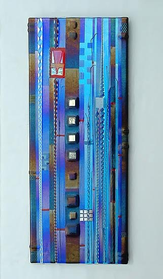 Blue Sky Panel In Cobalt And Aquamark Ditzler (Art Glass Wall Within Glass Wall Art Panels (Image 8 of 20)
