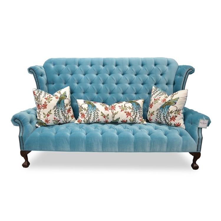 Blue Velvet Tufted Sofa – Hollywood Glam Furniture – Haute House Home Regarding Blue Velvet Tufted Sofas (Image 10 of 20)