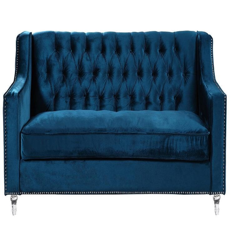 Blue Velvet Tufted Sofa Throughout Blue Velvet Tufted Sofas (Image 12 of 20)