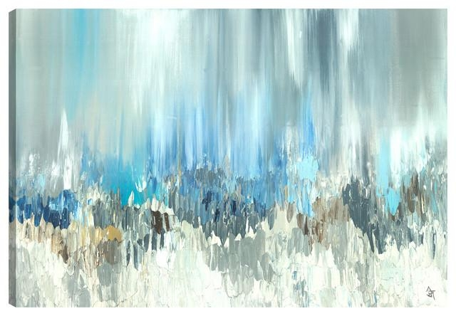 "Blue Visuals"" Gel Brush Canvas Wall Artsanjay Patel, 30""x40 In Blue Wall Art (Image 12 of 20)"