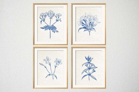 Blue White Botanical Wall Art Set Of 4 Prints Blue Botanical Regarding Blue And White Wall Art (Image 11 of 20)