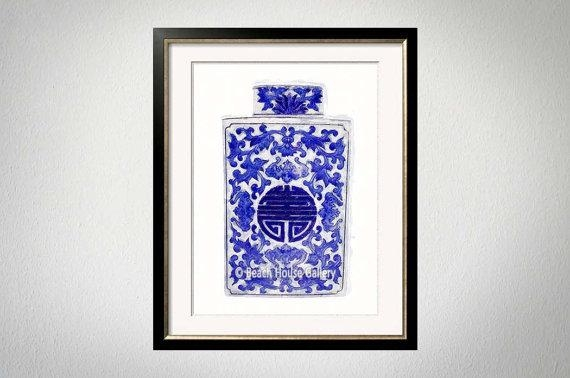 Blue White Vase Print Chinoiserie Wall Art Asian Vase With Regard To Chinoiserie Wall Art (Image 10 of 20)