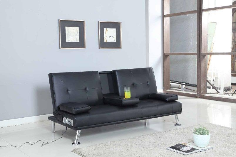 Bluetooth Cinema Sofa Bed With Drink Cup Holder Table Faux Leather Inside Sofas With Cup Holders (Image 3 of 20)