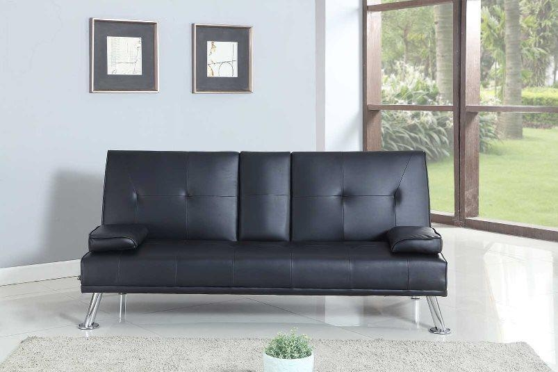 Bluetooth Cinema Sofa Bed With Drink Cup Holder Table Faux Leather Pertaining To Sofas With Drink Holder (Image 6 of 20)