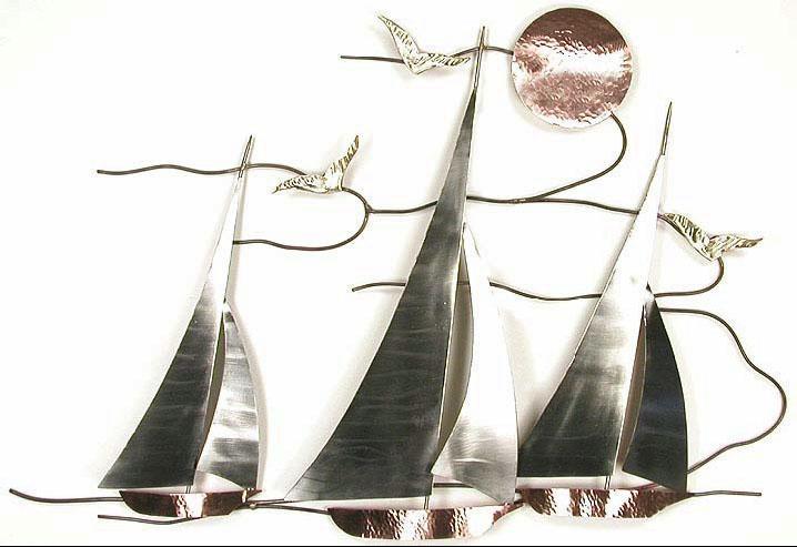 Bns07 Sailboat Regata Sailboat Wall Hanging Metal Art, Nature Inside Metal Sailboat Wall Art (View 10 of 20)