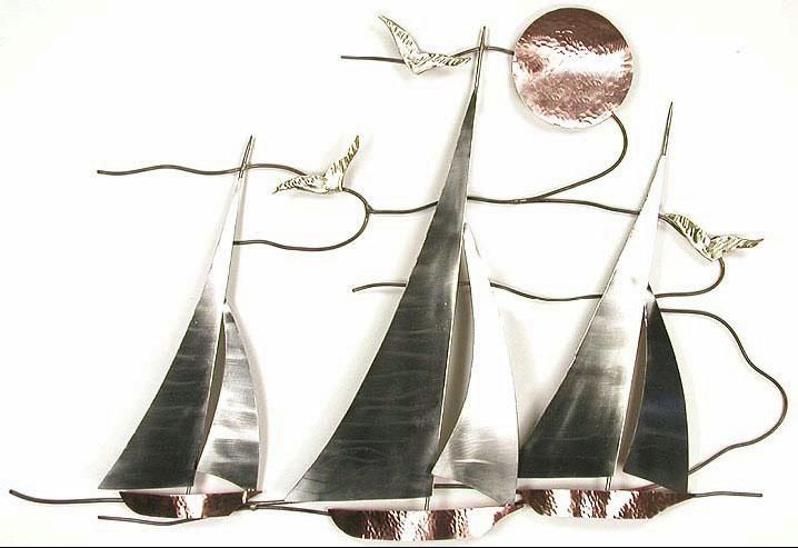 Bns07 Sailboat Regata Sailboat Wall Hanging Metal Art, Nature Intended For Sailboat Metal Wall Art (Image 7 of 20)