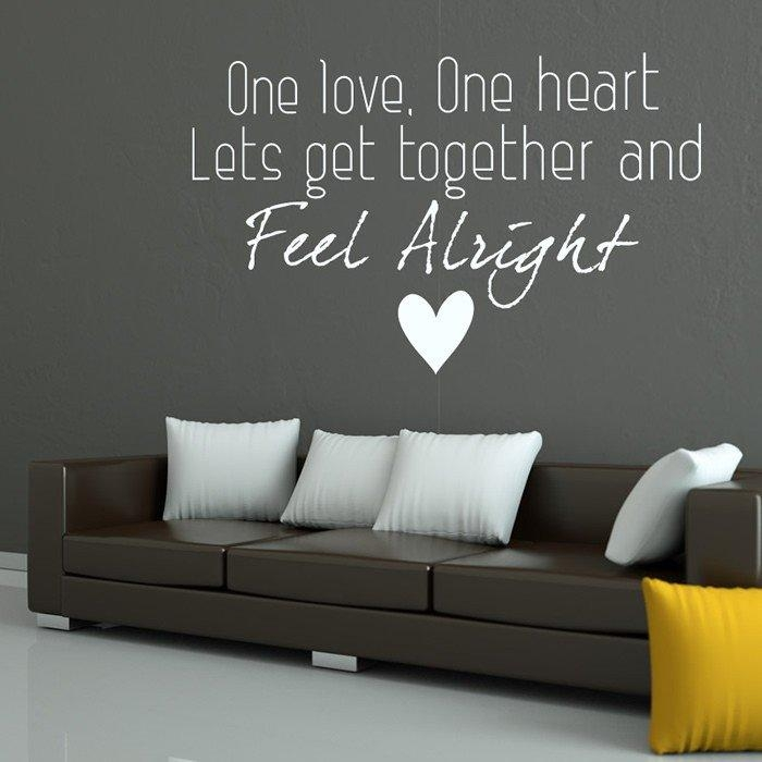 Bob Marley One Love Reggae Song Lyrics Wall Sticker Music Decor Pertaining To Bob Marley Wall Art (Image 12 of 20)