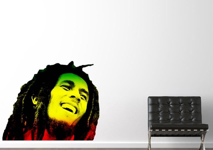 Bob Marley Rasta Colours People Printed Wall Sticker Inside Bob Marley Wall Art (Image 14 of 20)
