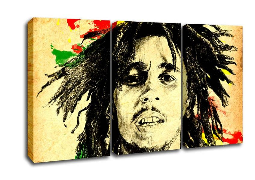 Bob Marley Splash Colour People 3 Panel Canvas 3 Panel Set Canvas With Regard To Bob Marley Canvas Wall Art (Image 10 of 20)