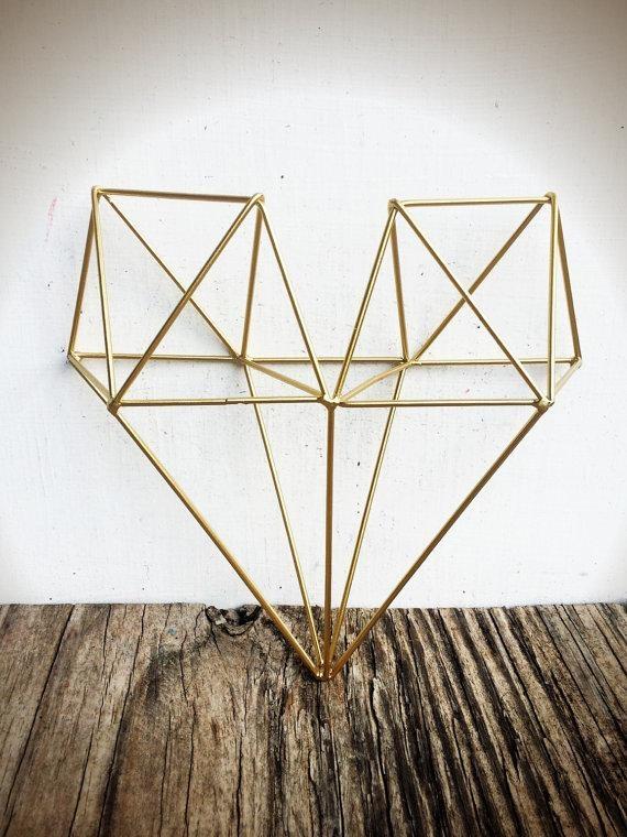 Bold 3D Geometric Metal Heart Wall Art // Metallic Gold Leaf In Wire Wall Art Decors (View 17 of 20)