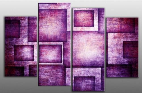 Bold Purple Geometric Rectangles Abstract 4 Panel Canvas Wall Art Throughout Purple Abstract Wall Art (View 19 of 20)