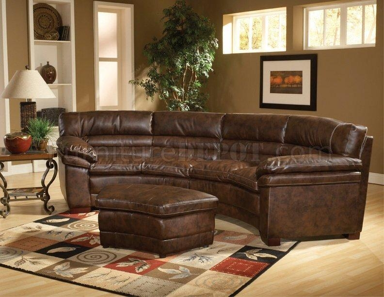 Bomber Brown Bonded Leather Sectional Sofa With Optional Ottoman Intended For Bomber Leather Sofas (Image 1 of 20)