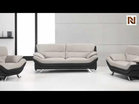 Bonded Leather Black And White Sofa Set Vgdm2927 – Youtube In Black And White Sofas And Loveseats (Image 13 of 20)