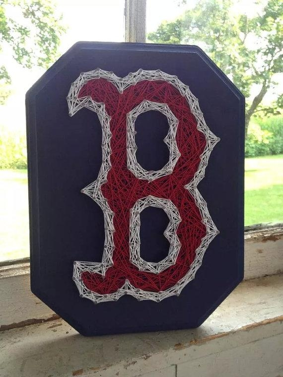 Boston Red Sox B String Art Red Sox Wall Hanging For Boston Red Sox Wall Art (Image 8 of 20)