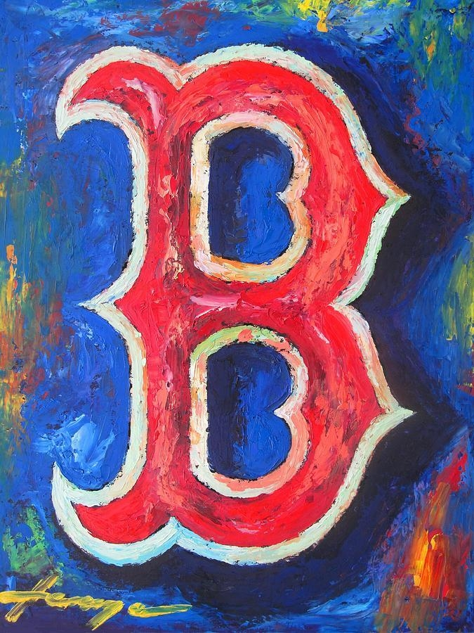 Boston Red Sox Baseball Paintingdan Haraga Throughout Red Sox Wall Art (Image 7 of 20)