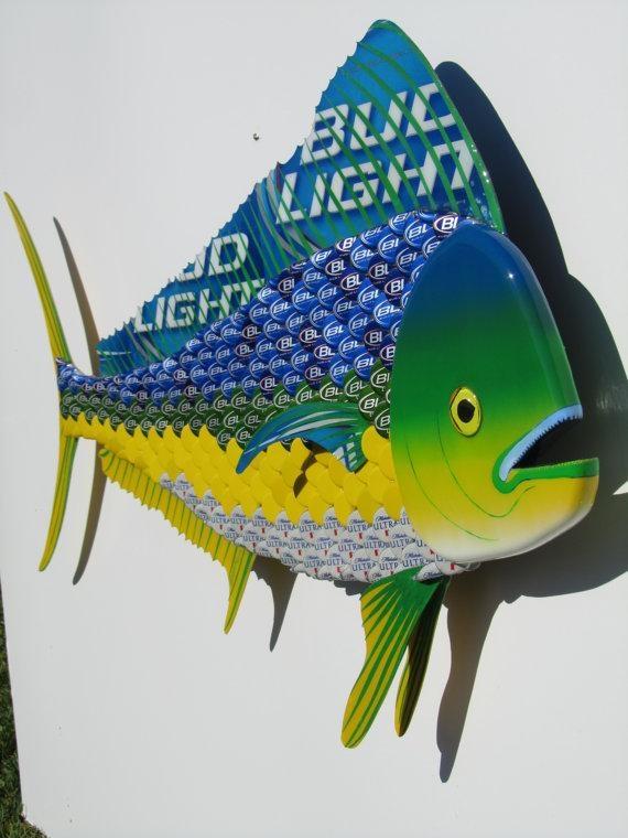 Bottle Cap Fish Metal Wall Art Mahi Mahi Dolphin Sculpture Regarding Dolphin Metal Wall Art (Image 7 of 20)