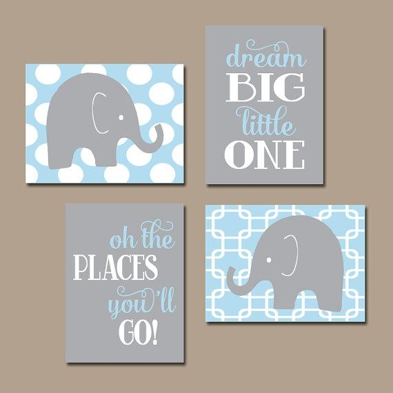 Boy Elephant Wall Art Baby Boy Nursery Artwork Light Blue For Canvas Prints For Baby Nursery (View 7 of 20)