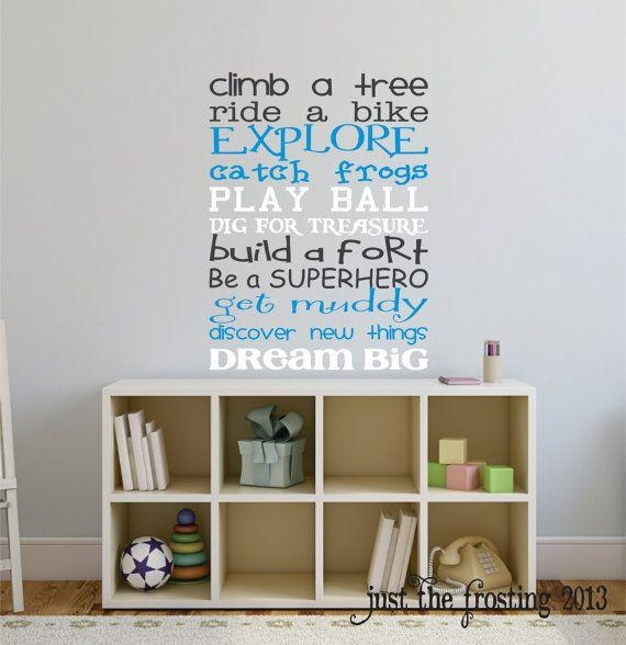 Boys Playroom Wall Decal, Childrens Playroom Wall Art, Childrens Intended For Playroom Wall Art (Image 7 of 20)