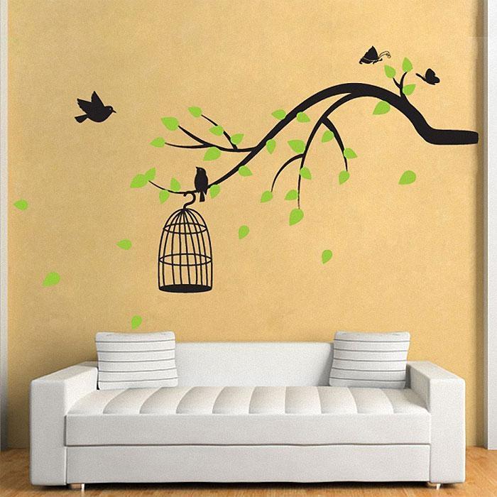 Branch With Birds,butterfly Vinyl Wall Art Decal Inside Butterflies Wall Art Stickers (View 9 of 20)