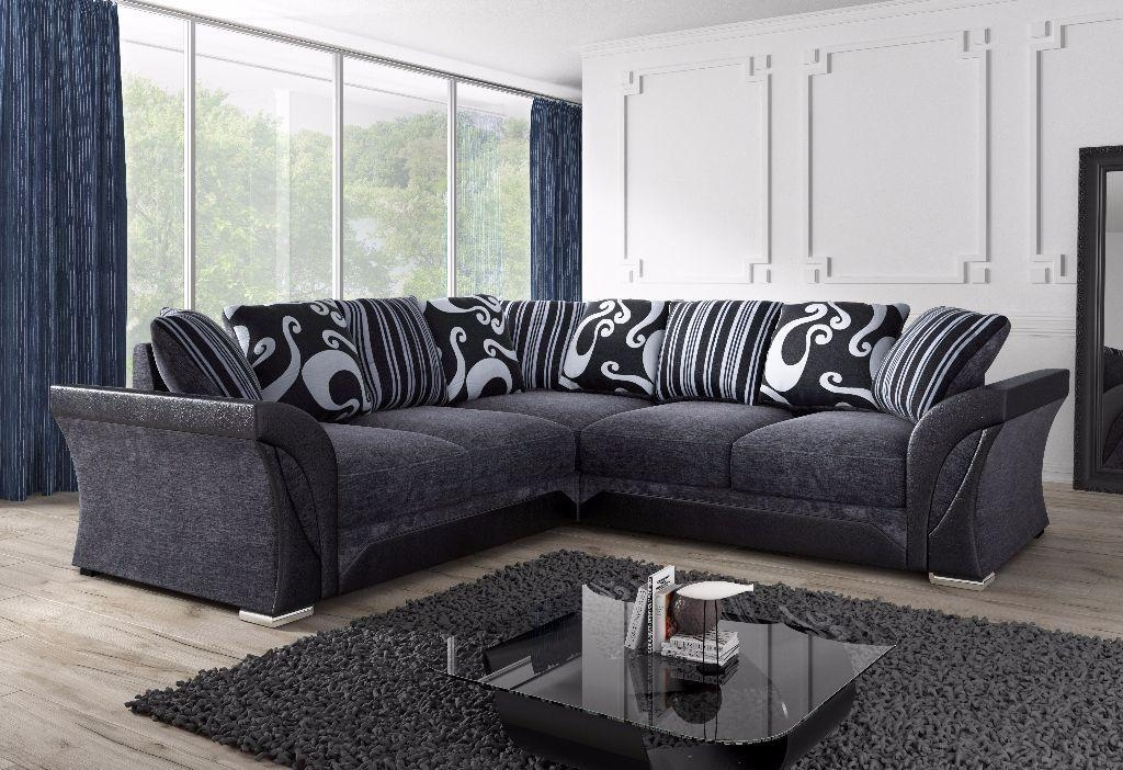 Brand New Farrow Leather & Chenille Fabric Corner Sofa In Black With Black Corner Sofas (View 3 of 20)