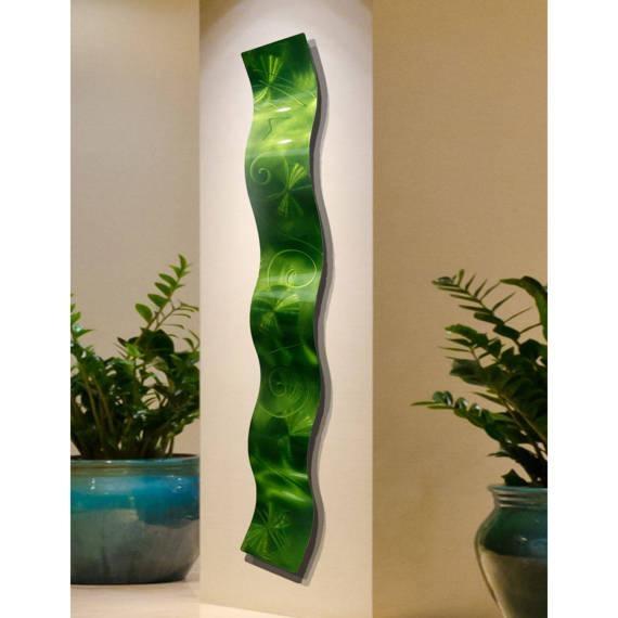 Bright Contemporary Metal Wall Art Modern Metallic Accent Inside Lime Green Metal Wall Art (Image 4 of 20)