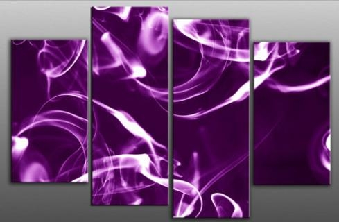 Bright Purple Smoke With Glow Abstract Canvas Wall Art Print 4 Inside Purple Abstract Wall Art (Image 10 of 20)