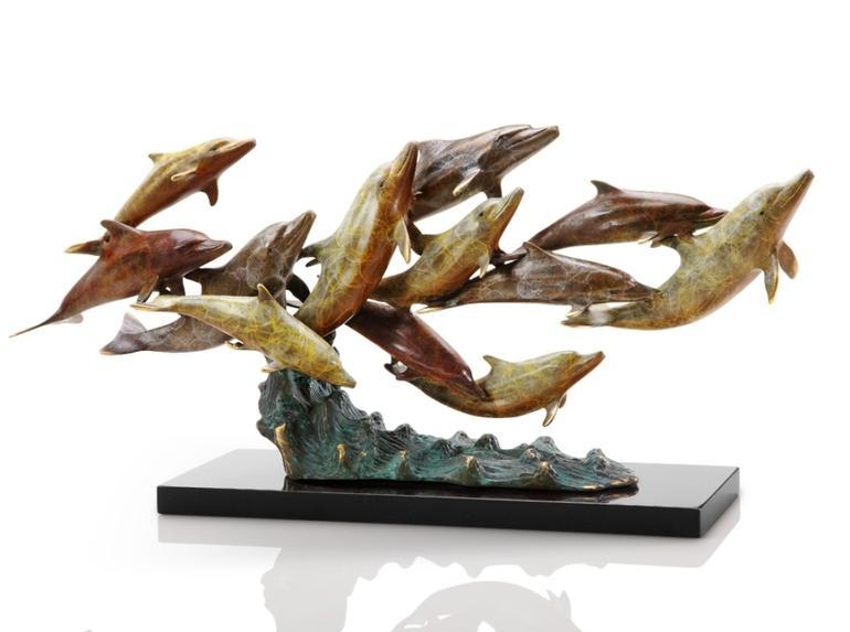 Bronze Brass Sealife Dolphins Sculptures – Crystal Fox Gallery Pertaining To Dolphin Metal Wall Art (Image 8 of 20)