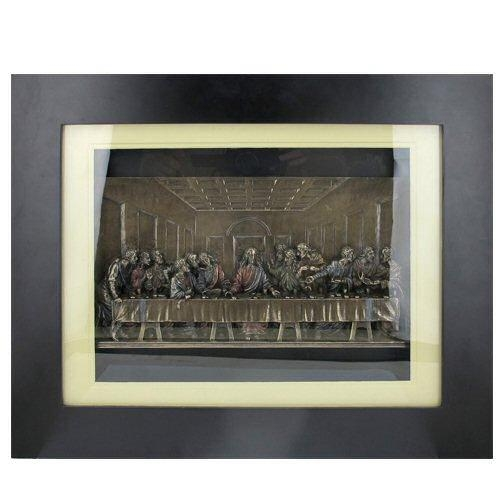 Bronze The Last Supper In Wooden Frame Religious Wall Art – Wall Within Last Supper Wall Art (Image 4 of 20)
