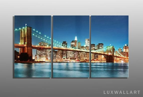 Brooklyn Bridge Multi Panel Metal Wall Art Ready To Hang Nyc For Brooklyn Bridge Metal Wall Art (Image 4 of 20)