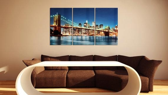 Brooklyn Bridge Multi Panel Metal Wall Art Ready To Hang Nyc Throughout Brooklyn Bridge Metal Wall Art (Image 5 of 20)
