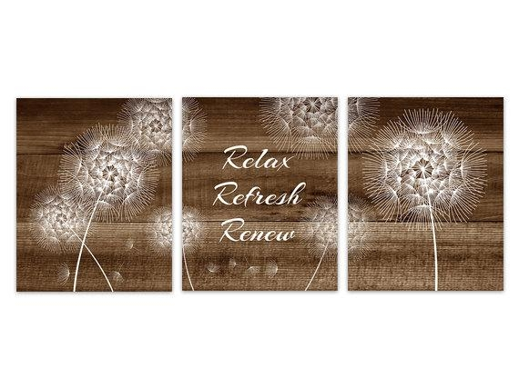 Brown Bathroom Wall Art Dandelion Bathroom Instant Download Within Bath Wall Art (Image 12 of 20)