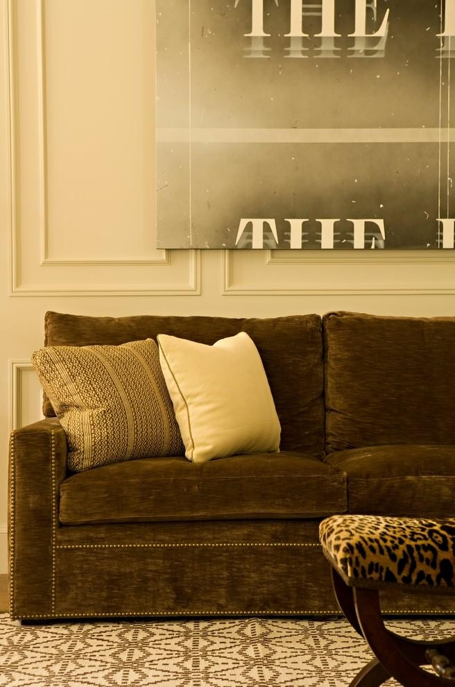 Brown Velvet Sofa Living Room Contemporary With Artwork Brown Pertaining To Brown Velvet Sofas (Image 9 of 20)