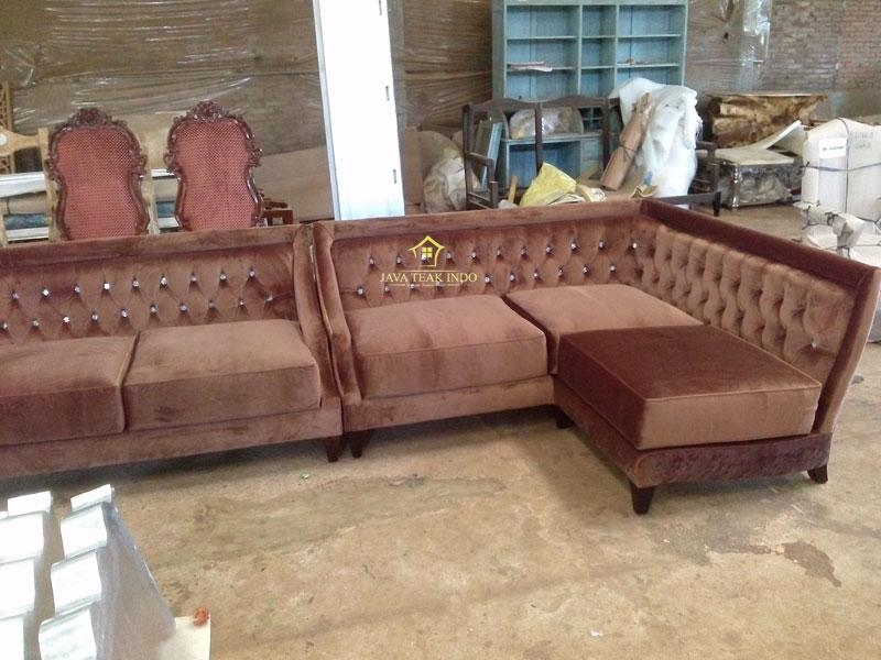 Brown Velvet Sofa Makassar | Javateakindo In Brown Velvet Sofas (Image 8 Of  20)