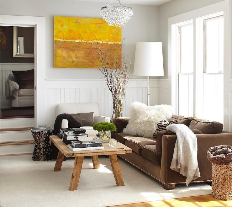 Brown Velvet Sofa – Transitional – Living Room – Urrutia Design With Brown Velvet Sofas (View 7 of 20)